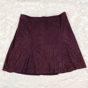 Express Suede Plum Laser Cut Floral Skirt Size 2